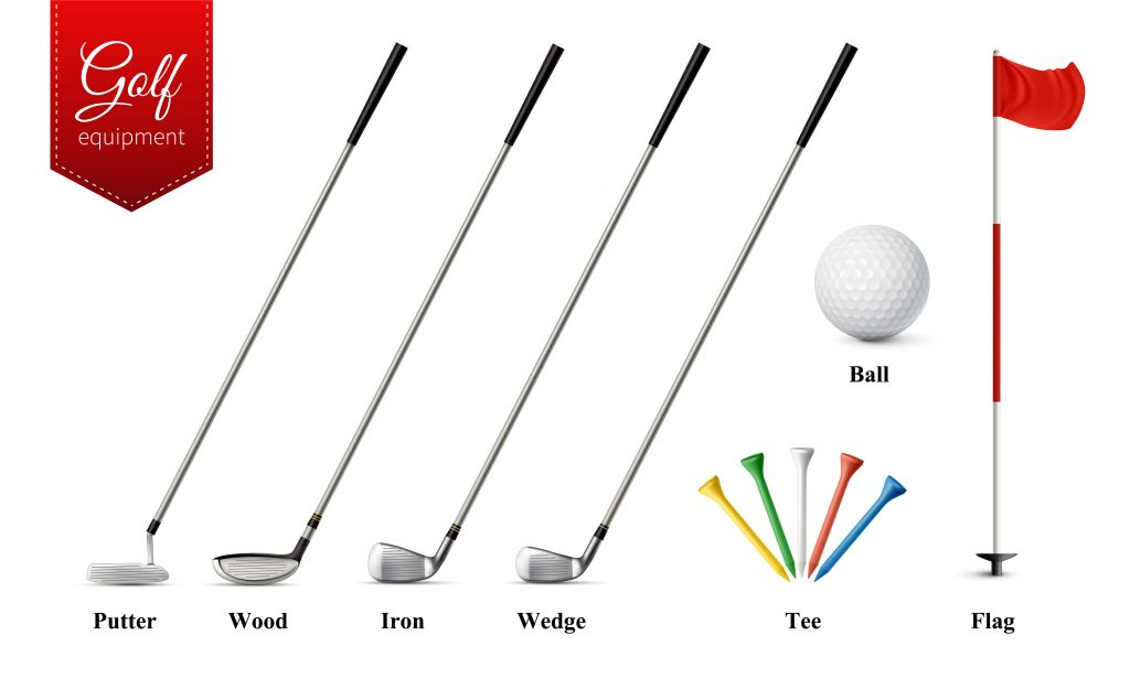 Different types of golf clubs and other equipment