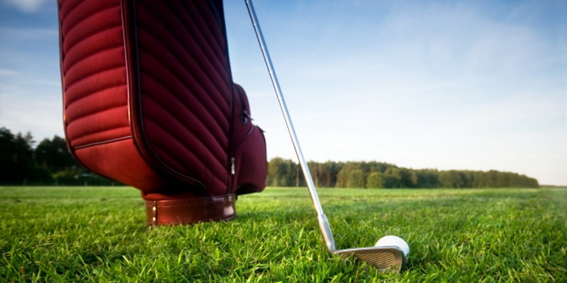 bag with golf club and ball