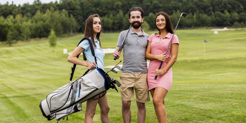 front view young golfers looking camera